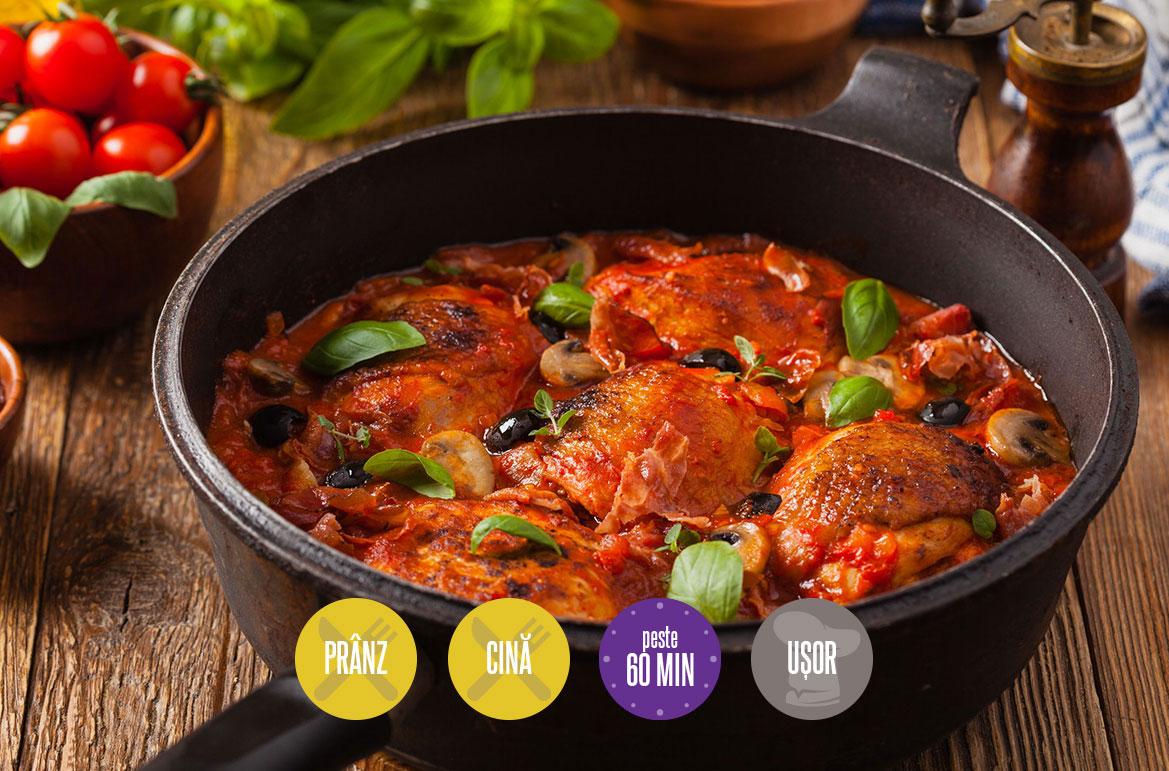 pui cu sos de roșii și măsline