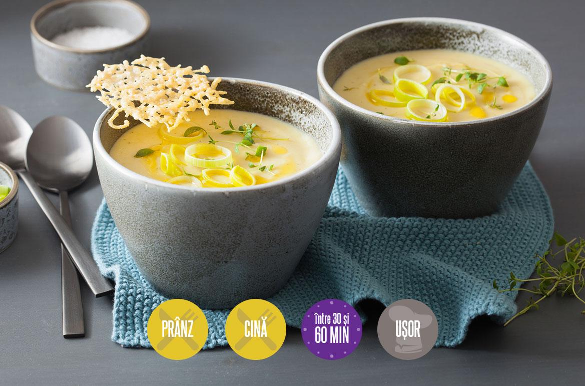 supă cremă de praz și cartofi