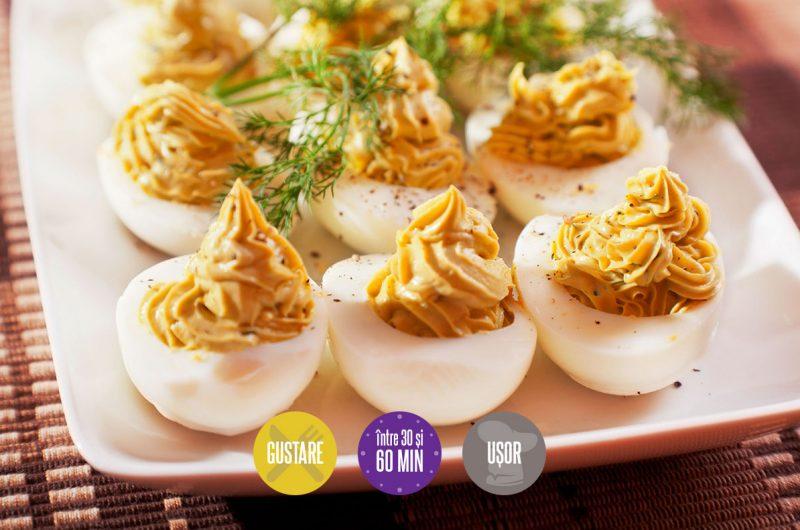 Ouă umplute cu pate de ficat și maioneză