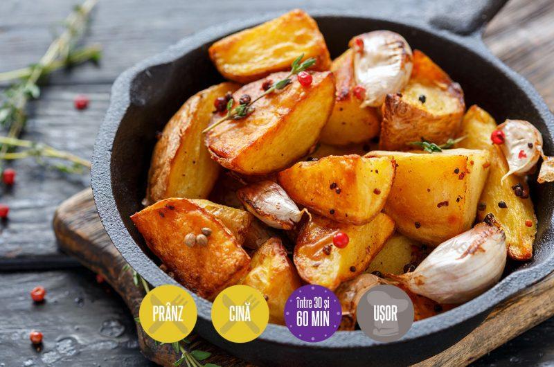 cartofi copți cu usturoi și cimbru