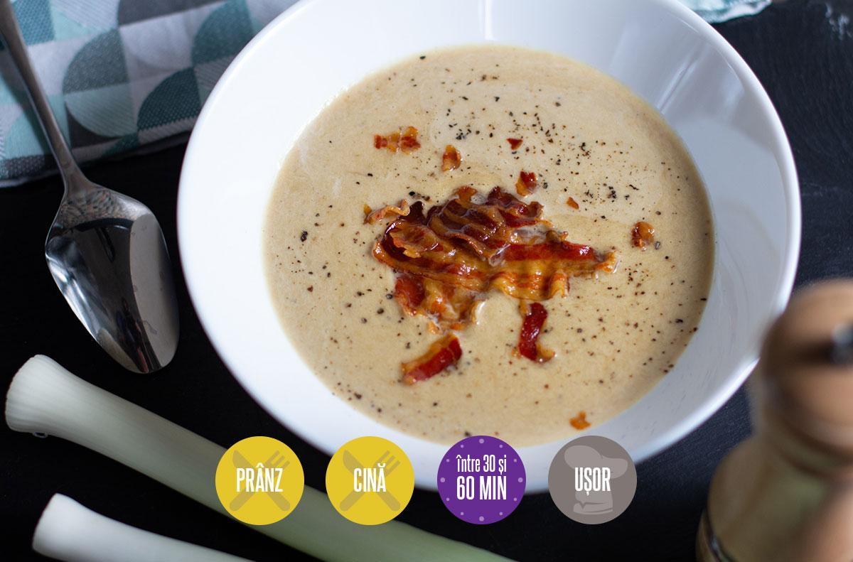 supă cremă de praz caramelizat cu bacon crocant