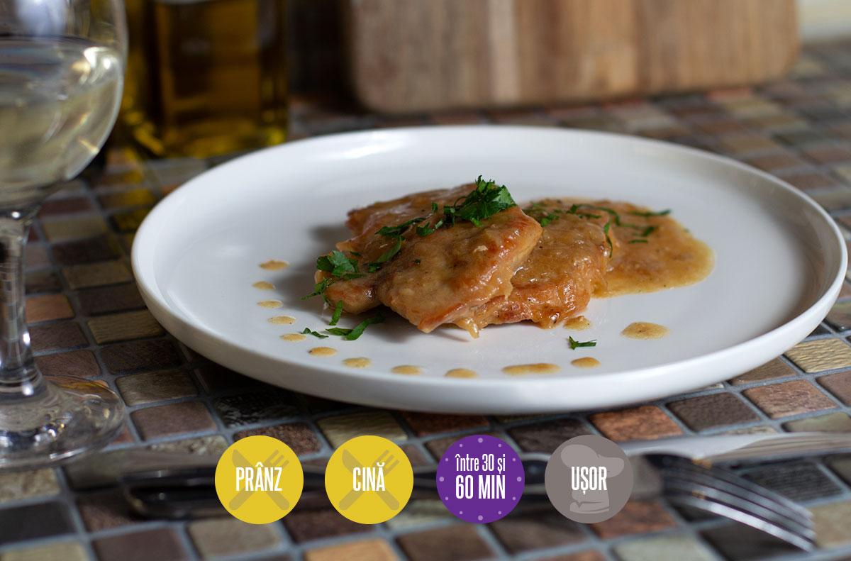 escalop de porc cu sos de vin alb