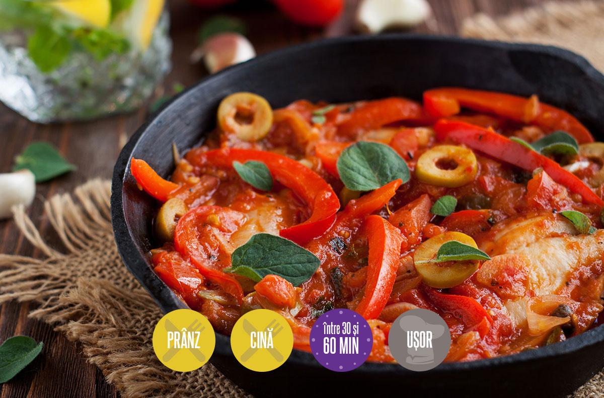 pește cu sos aromat de roșii și măsline