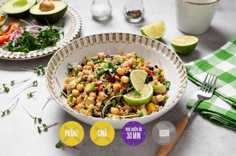 salată cu quinoa fasole neagră și avocado