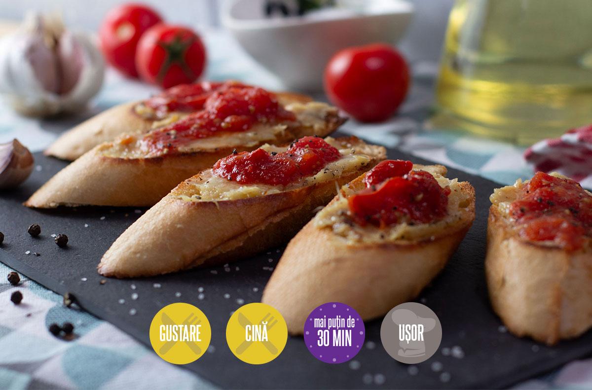 bruschete cu usturoi și roșii coapte