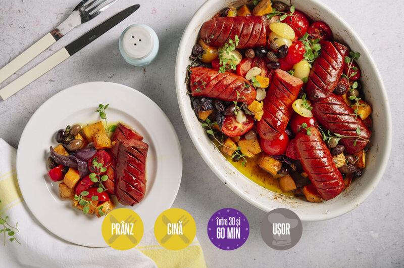 legume cu cârnați la cuptor