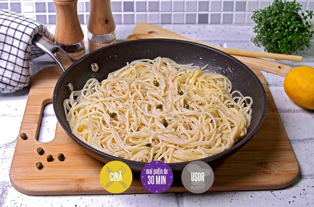 spaghete cu sos de unt și lămâie