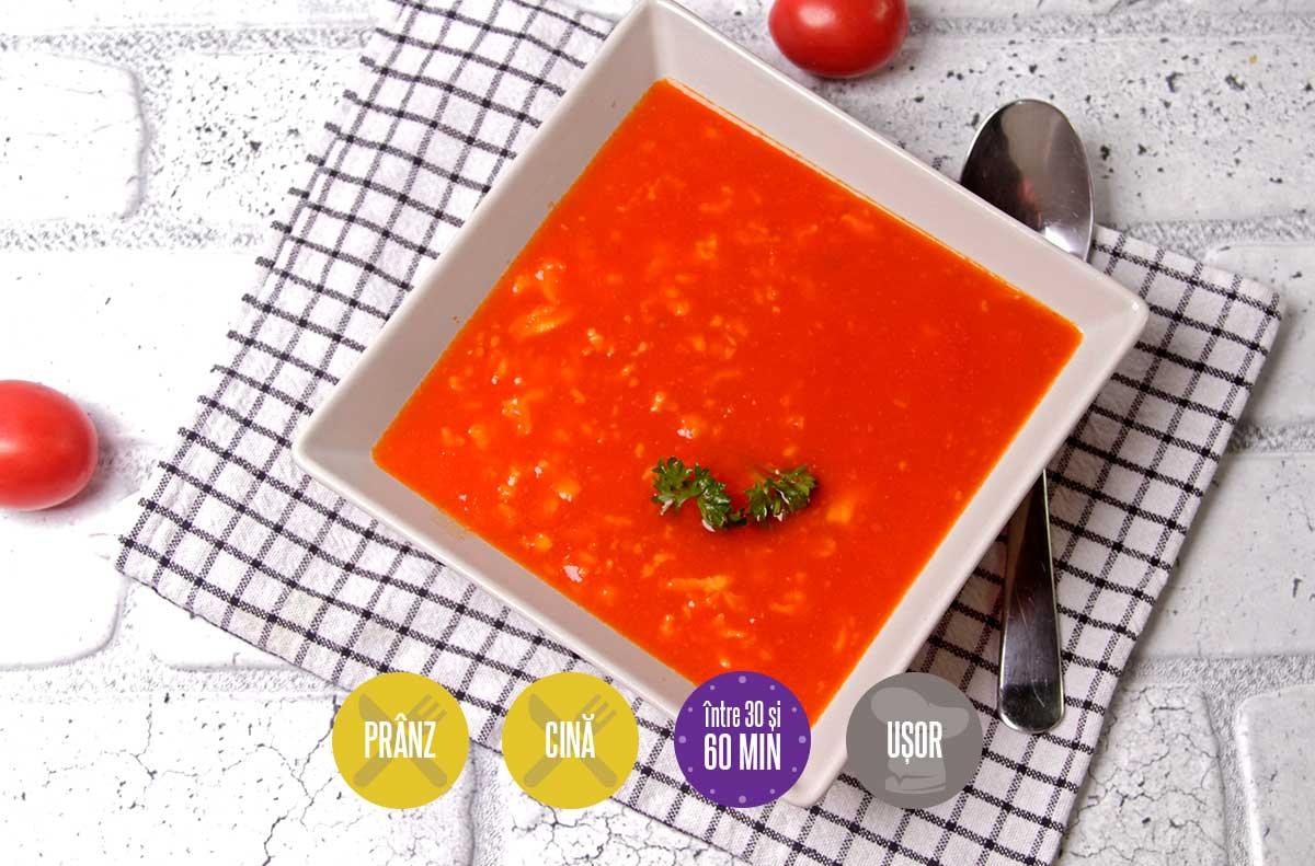 supă de roșii cu zdrențe de ou