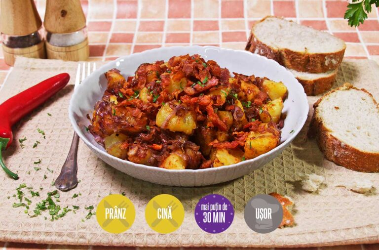 cartofi cu ceapa și bacon crocant