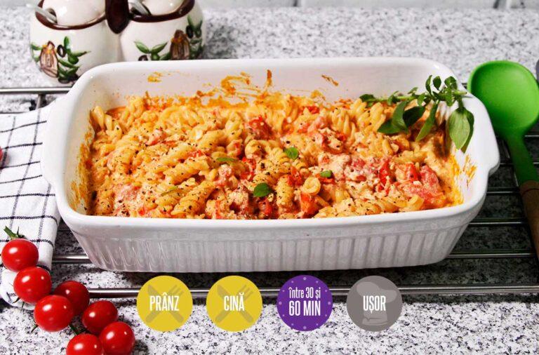paste cu roșii cherry și brânză la cuptor